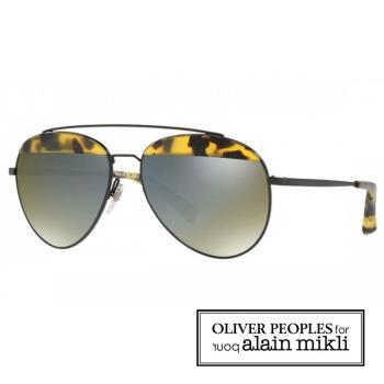 【alain mikli × Oliver Peoples 聯名款】法式巴黎 金屬雙樑眉框飛行員造型太陽眼鏡 - 深玳瑁 AL4004-007