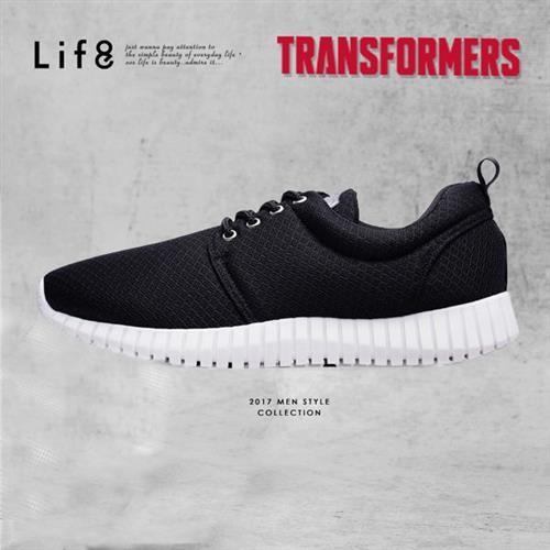 Life8-變形金剛 金屬網布 3D彈簧運動鞋-09638-黑色