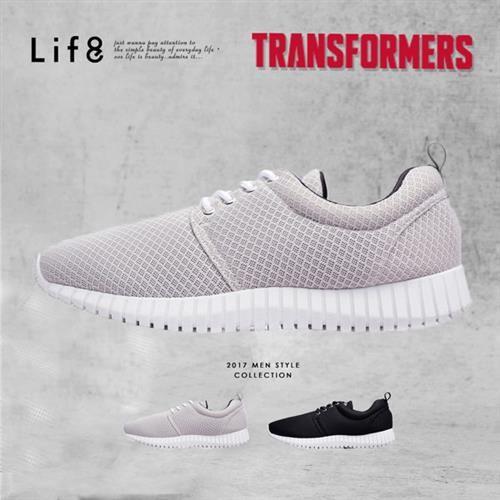 Life8-變形金剛 金屬網布 3D彈簧運動鞋-09638-灰色