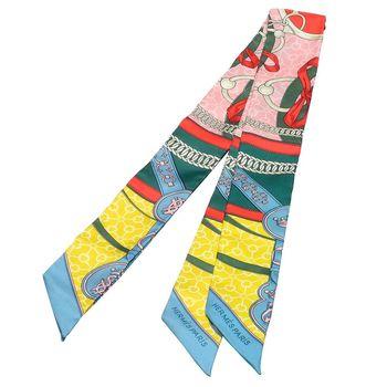 HERMES 愛馬仕La Promenade du Matin圖騰Twilly絲巾/領結(綠X黃-一組兩條)