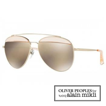 【alain Mikli × Oliver Peoples 聯名款】法式巴黎 金屬雙樑眉框飛行員造型太陽眼鏡 - 透明白-AL4004-008