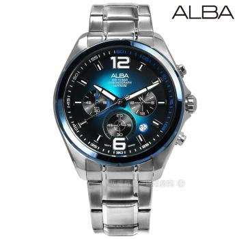 ALBA / VD53-X278B.AT3B79X1 / 日期顯示三眼計時藍寶石水晶玻璃防水不鏽鋼手錶 藍綠色 43mm