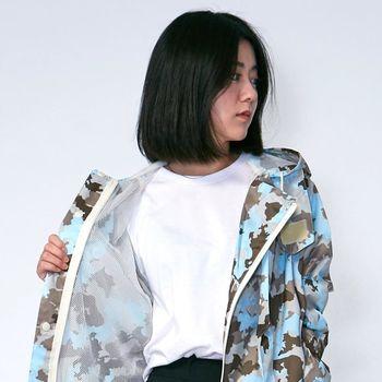 RAINSTORY雨衣-藍調迷彩連身甜美雨衣(L號)