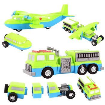 百變自由組合磁性積木迴力車3-飛機/消防車/牽引車