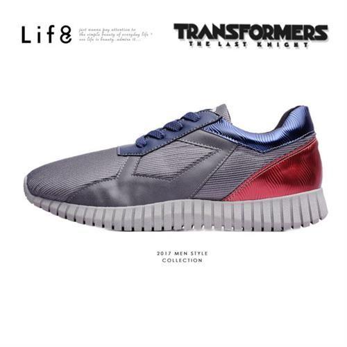 Life8-變形金剛 金屬網布 限量款 拼接3D彈簧運動鞋-09647-灰色