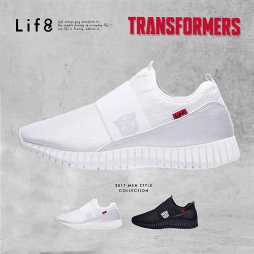 Life8-變形金剛 金屬網布 套入式3D彈簧運動鞋-09637-白色