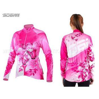 SOOMOM 幻影 女薄長袖車衣-反光條 自行車 腳踏車 單車 粉紅