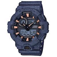 【CASIO】G-SHOCK 時尚單寧休閒錶款-牛仔X古銅金 (GA-700DE-2A)