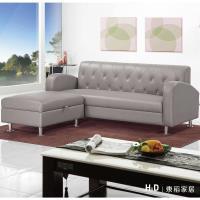 H&D 戴爾灰色皮L型沙發
