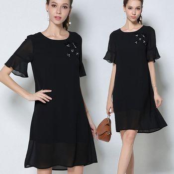 麗質達人中大碼 - PM2746釘珠黑色雪紡洋裝 M-5XL