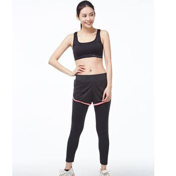 MIT台灣製 假兩件 九分褲瑜伽韻律健身路跑步褲
