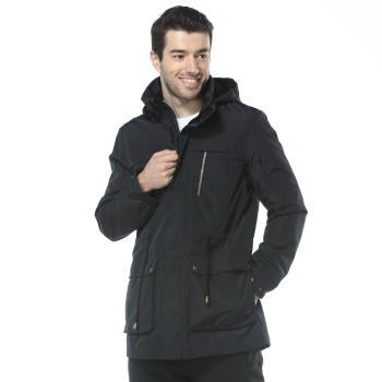 【聖伯納 St.Bonalt】男-英倫風時尚可拆式連帽防潑風衣(80158) 黑色/卡其