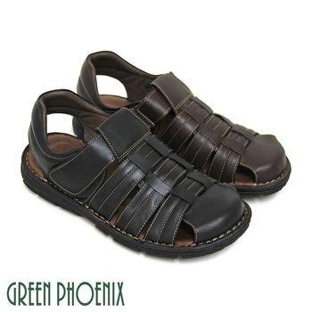 GREEN PHOENIX 俐落編織鏤空沾黏式全真皮平底前包涼鞋(男鞋)-咖啡色、黑色