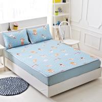 Lily Royal 天絲-特大平單式涼蓆/軟蓆枕套組-貓與少年藍