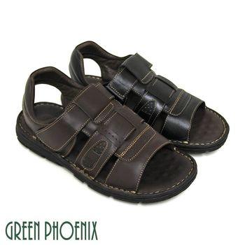 GREEN PHOENIX 一字寬版鏤空沾黏式全真皮平底涼鞋(男鞋)-咖啡色、黑色