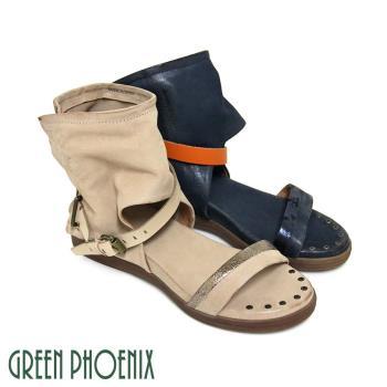 GREEN PHOENIX BIS-VITAL 皮扣仿舊釘扣義大利雙色臘皮小坡跟羅馬涼鞋-駱駝色、深藍色