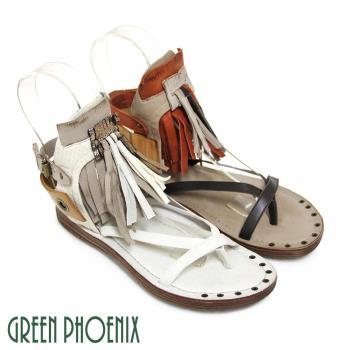 GREEN PHOENIX BIS-VITAL 立體垂墜流蘇雙彩撞色側扣義大利雙色臘皮平底涼鞋-咖啡色、米色