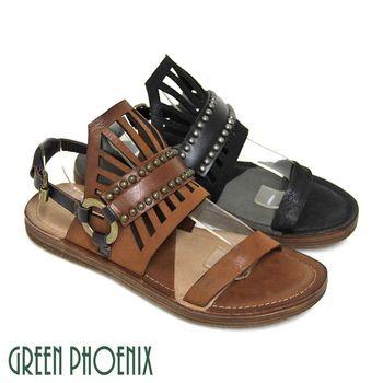 GREEN PHOENIX BIS-VITAL 仿舊釘扣鏤空立體皇冠側扣義大利雙色臘皮平底涼鞋-咖啡色、黑色