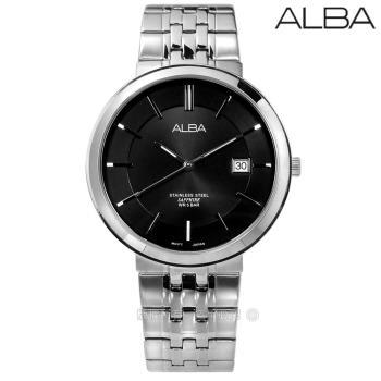 ALBA / VJ42-X224N.AS9D81X1 / 日期顯示藍寶石水晶玻璃防水不鏽鋼手錶 黑色 40mm