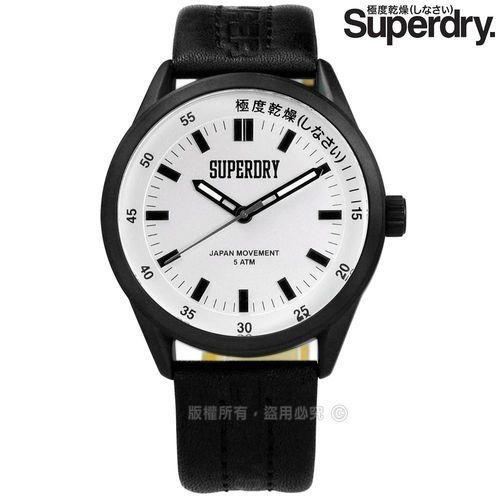 Superdry 極度乾燥 / SYG207BB / 復古防水品牌壓紋真皮手錶 銀x黑 43mm