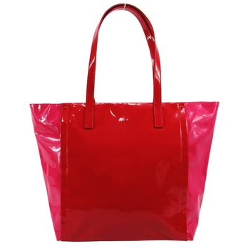 agnes b. 雙色漆皮手提包-大/紅