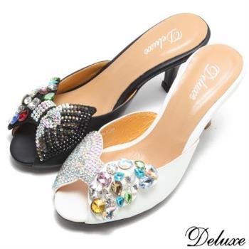 【Deluxe】全真皮施華洛士奇水鑽蝴蝶結高跟拖鞋(黑-白)-901-5