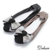 【Deluxe】全真皮俏皮少女水鑽蝴蝶結娃娃鞋(黑☆咖)-283-8