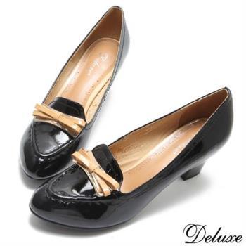 【Deluxe】全真皮氣質文學少女蝴蝶結尖頭跟鞋(黑)-1222-8