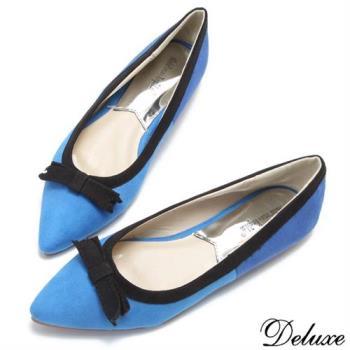 【Deluxe】古典法式淑女蝴蝶鞋娃娃鞋(藍)