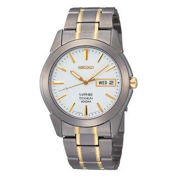 SEIKO 鈦經典時尚手錶 白x雙色版 38mm 7N43-0AS0KS SGG733P1