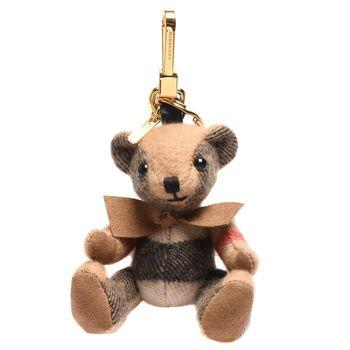 BURBERRY Thomas經典格紋蝴蝶結泰迪熊鑰匙圈/吊飾(駝色)
