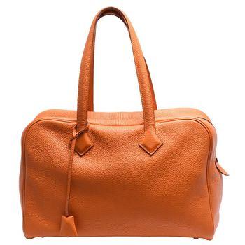 HERMES Victoria系列TAGO公牛皮銀色鎖頭手提/肩背包(35cm-橘)