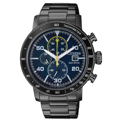 CITIZEN 星辰 光動能賽車計時碼錶 藍x黑 43mm CA0645-82L