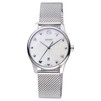 GUCCI古馳 G-Timeless 超薄米蘭帶女錶 珍珠貝 29mm YA126583