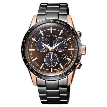 CITIZEN 星辰 限量光動能萬年曆計時錶 咖啡x黑 40mm BL5496-53E