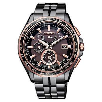 CITIZEN 星辰 光動能電波鈦金屬腕錶 咖啡x黑 43mm AT9096-73E