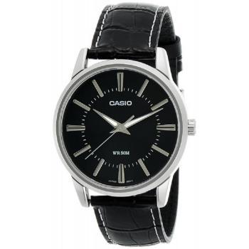 【CASIO】 簡潔俐落真皮錶帶紳士錶-羅馬黑面 (MTP-1303L-1A)