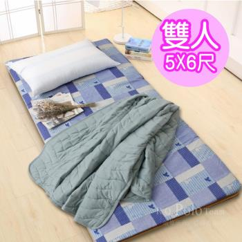 【R.Q.POLO】大青竹軟式三折式冬夏兩用床墊(雙人5X6尺)-花色隨機