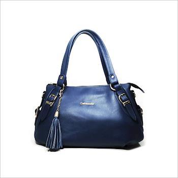 CONTINUITA 台灣手工真皮包 MIT 流蘇綴飾托特包-藍色