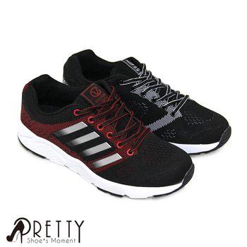 Pretty 男款輕量個性斜紋綁帶休閒運動鞋-黑紅、黑白
