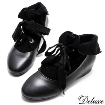 【Deluxe】全真皮魅力優雅拼接綁帶休閒靴(黑)