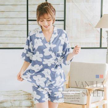 甜心嚴選 日式扶桑花綁帶式和服兩件式睡衣組/舒適居家服