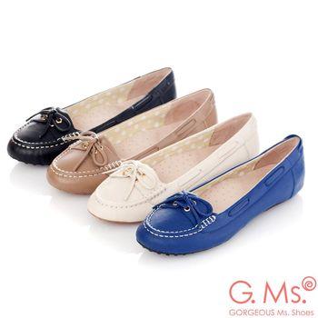 G.Ms. 微甜學院-羊皮綁帶蝴蝶結莫卡辛豆豆鞋-4色