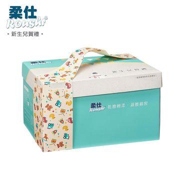 【BabyTiger虎兒寶】ROUSHR 特級棉柔新生兒賀禮 / 乾濕兩用布巾彌月禮盒