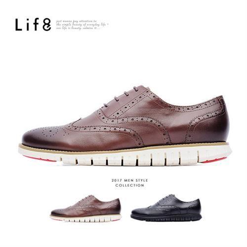 Life8-Formal 頭層牛皮 360超彈力 雕花休閒牛津皮鞋-09622-咖色/黑色