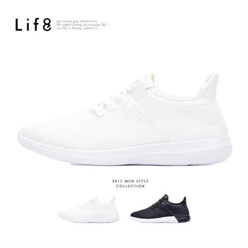 Life8-Sport 輕羽量 網布 套入式雙色運動鞋-09605-白色/黑色