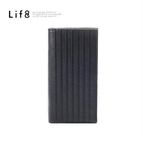 Life8-Formal 麻花紋 真皮長夾-06392-黑色