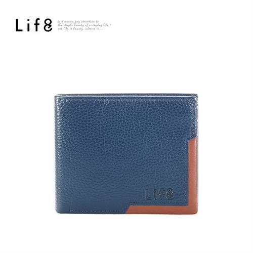 Life8-Formal 真皮 邊身撞色短夾-06395-滕士藍