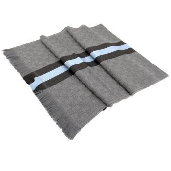 GUCCI GG提花針織圍巾(灰x水藍)