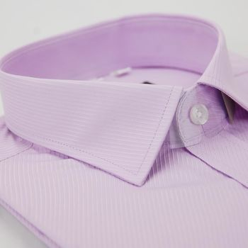 【金安德森】粉紫斜紋窄版短袖襯衫